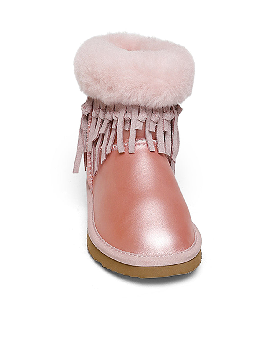 Kids Pink Fringed Winter Boots