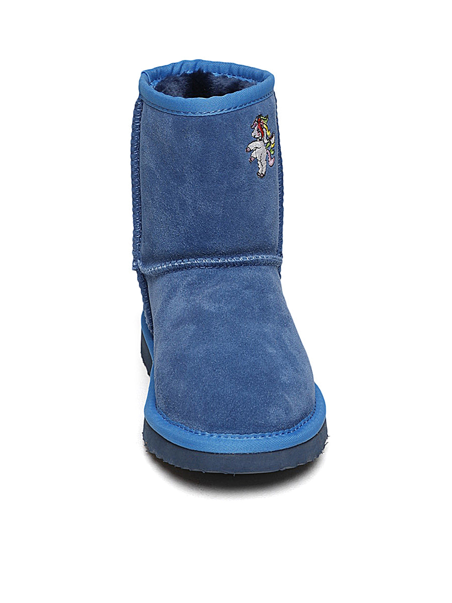 Kids Blue Unicorn Winter Boots
