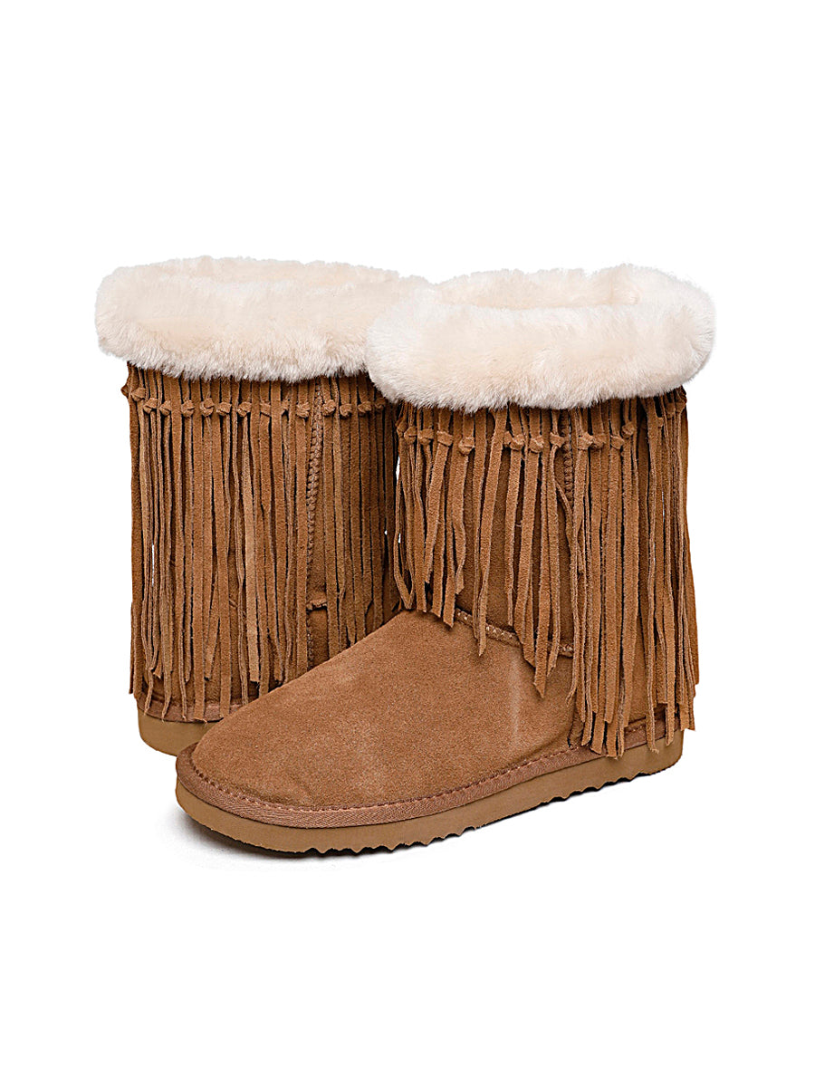 Tan Sheepskin Fringe Winter Boots