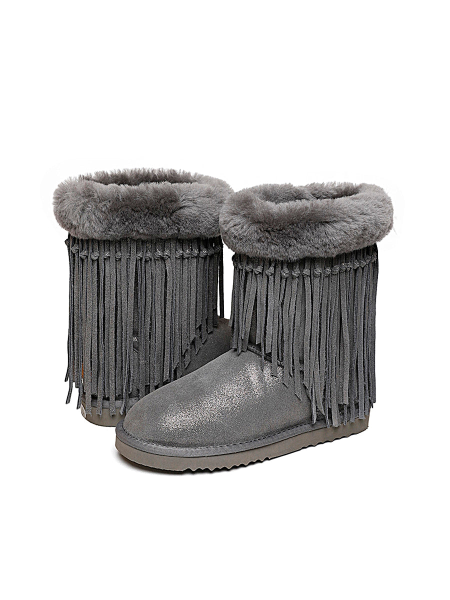Sheepskin Fringe Winter Boots