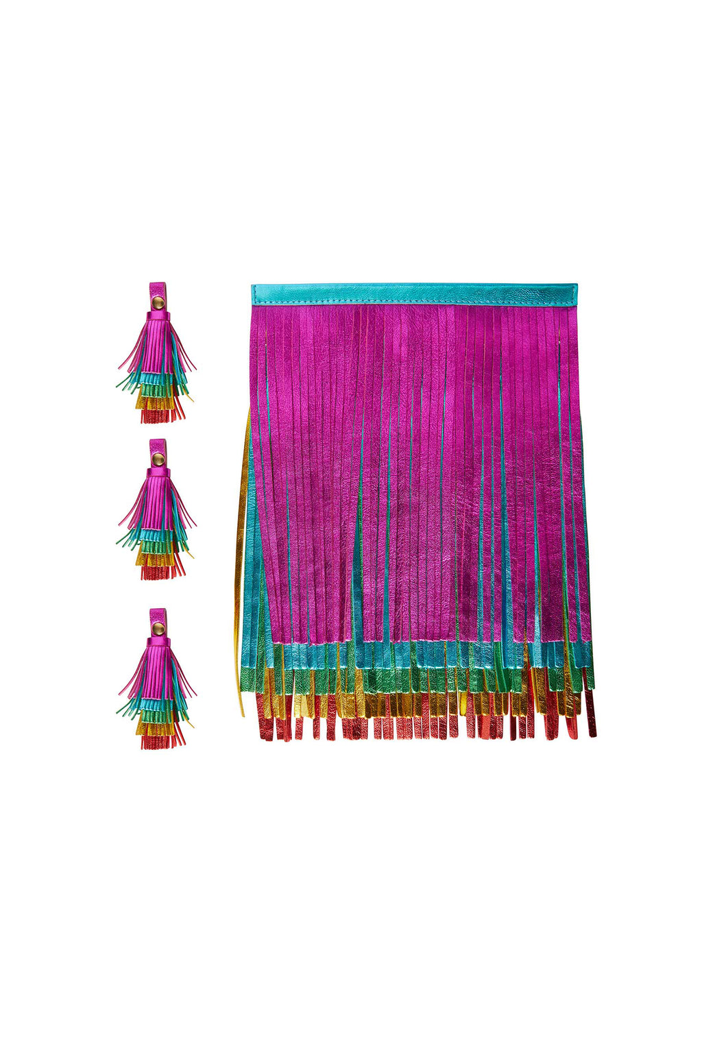 Rainbow Leather Tassels and Zip Pullers Set for Tassel Bags