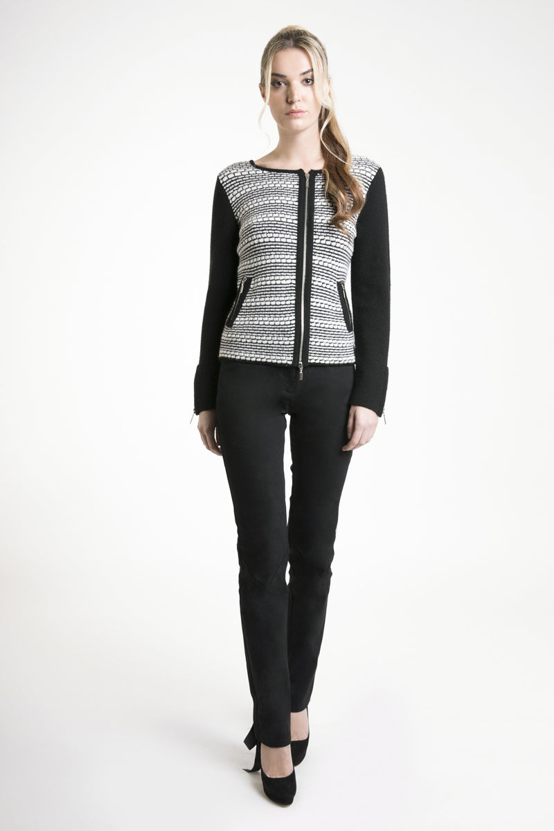 Monochrome Striped Cashmere Cardigan