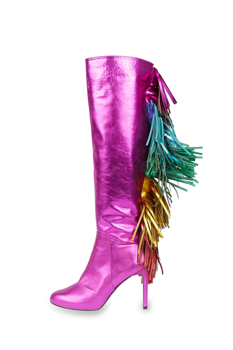 Fuchsia Unicorn Fringe Leather Boots