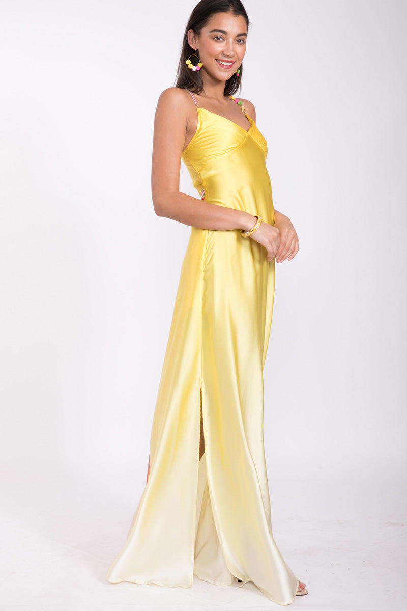Yellow Bead 100% Silk Maxi Dress
