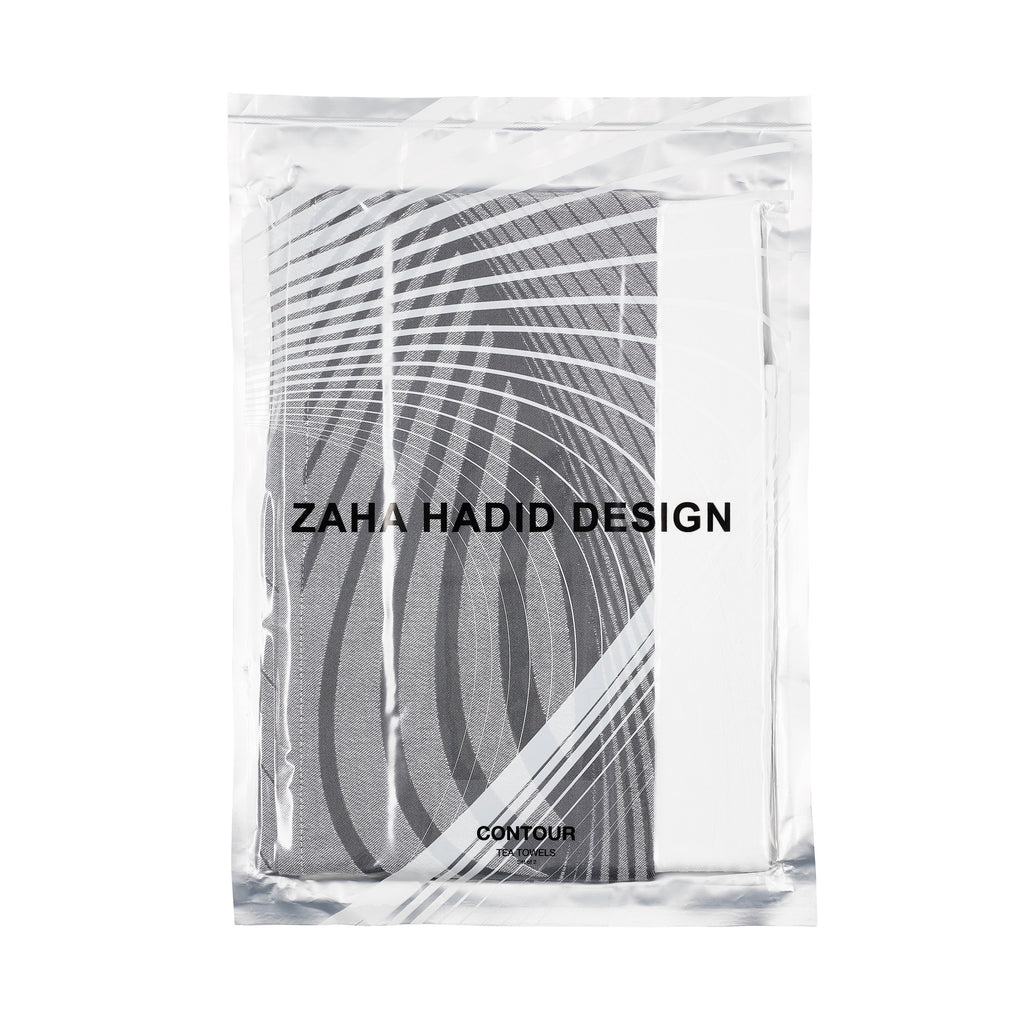Zaha Hadid Design Contour Tea Towel Lime/Grey - Set of 2