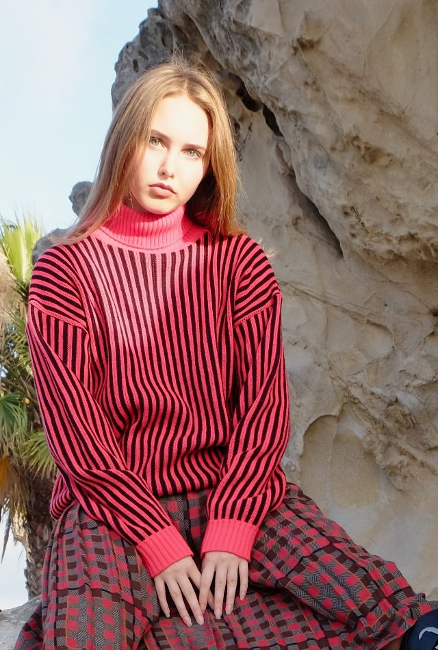 Vintage Stripe Sweater, red black turtleneck jumper