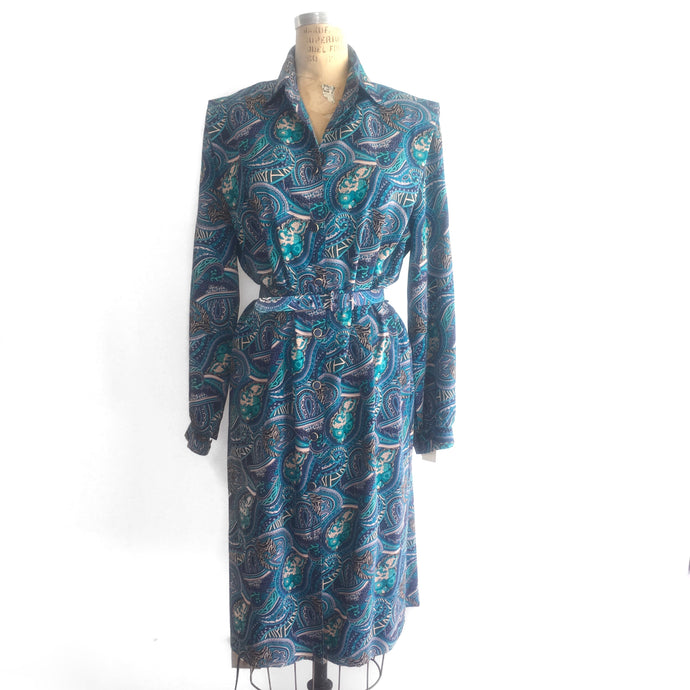 Vintage Paisley Shirt Dress, 70s style