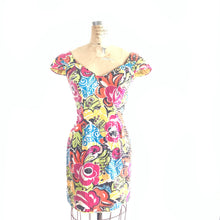 Load image into Gallery viewer, 80s Morton Myles Sequined Bold Floral Dress, vintage mini dress