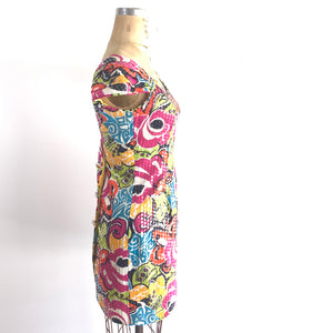 80s Morton Myles Sequined Bold Floral Dress, vintage mini dress
