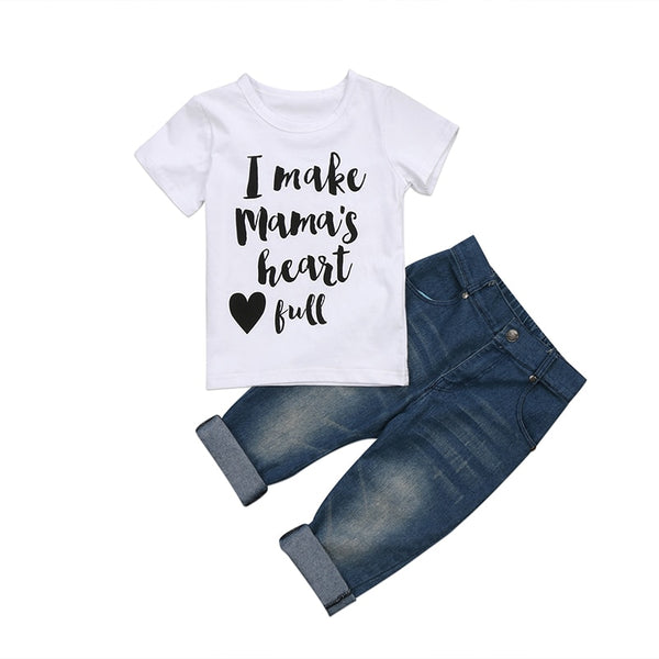 Mamas Heart Top Faded Jeans