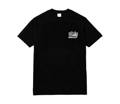 'What a Brew' Embroidered Tee - Black