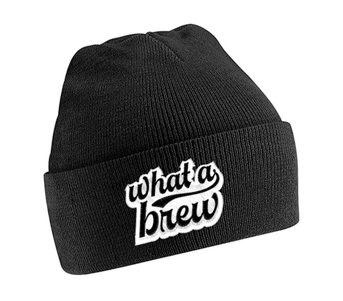 'What a Brew' Embroidered Beanie