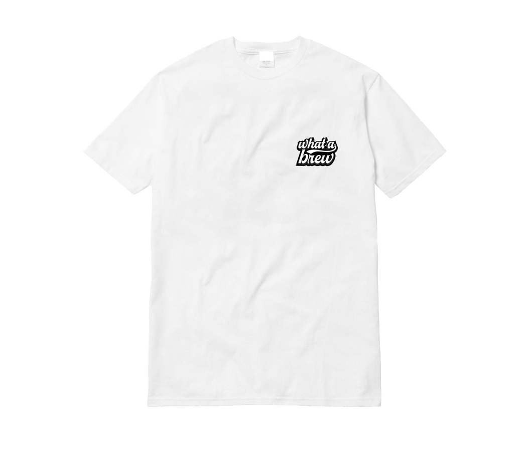 'What a Brew' Embroidered Tee - White