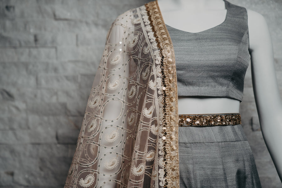 Silver Grey Lengha Large