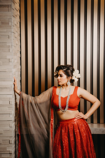 Modern Red Bridal Lehenga Set