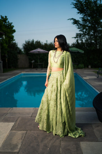 The Pistachio Slit Lehenga