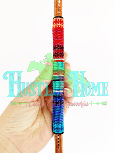 Turquoise/Red/Blue Serape Beaded Over Under
