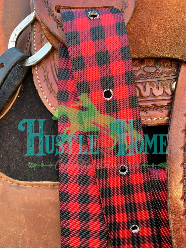 Buffalo Plaid Cinch Strap Set
