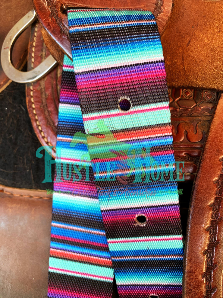 Purple Turquoise Serape Cinch Strap Set