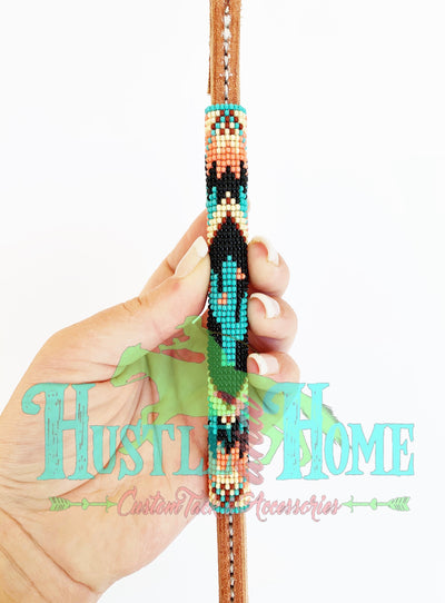 Turquoise/Coral Cactus Beaded Over Under