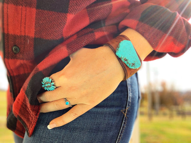 Turquoise Slab Leather Cuff Bracelet