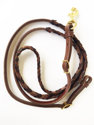 Dark Oil Laced Leather Barrel Reins
