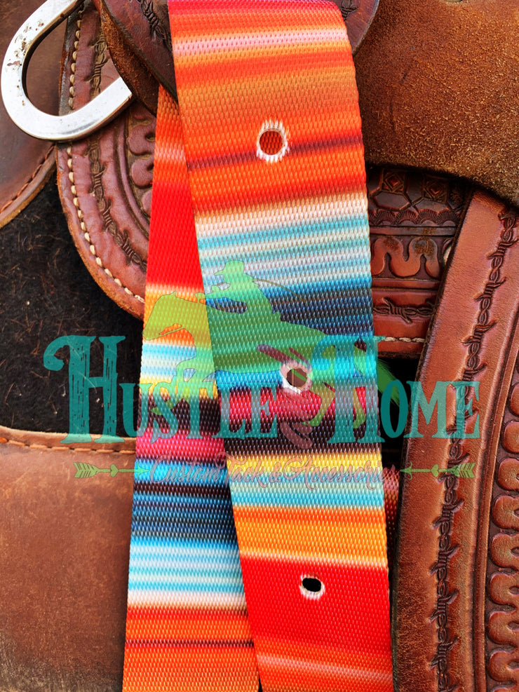 Classic Orange Serape Cinch Strap Set