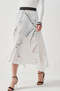 Elegant Eyelet Laser Cut Pleated Dress - White