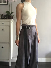 Striped Wide Leg Pants - Black Grey