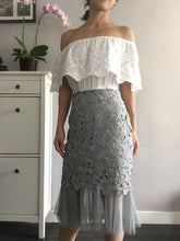 Elegant Eyelet Lace Skirt - Black White Blue