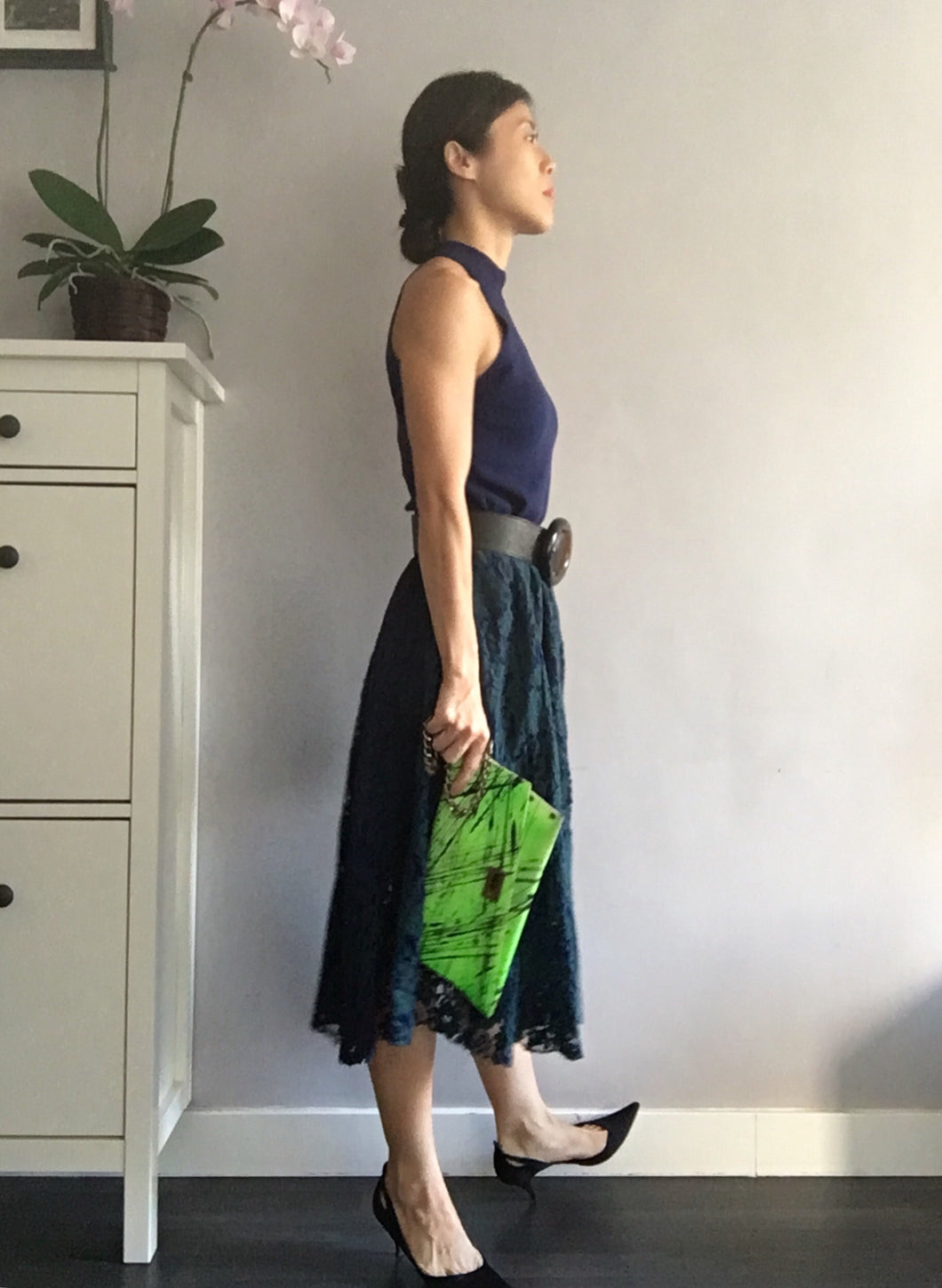 Lace Midi Dress - Navy Blue Green