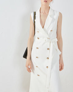 Sleeveless Trench Coat One Piece Dress - White/Black