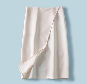 Simple Elegancy Front Split Skirt - White