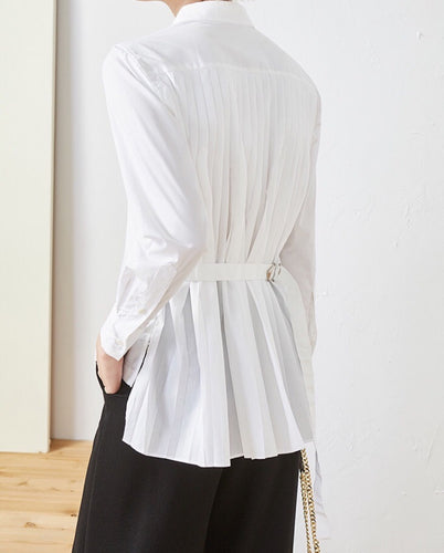 Stylish Pleated White Shirt