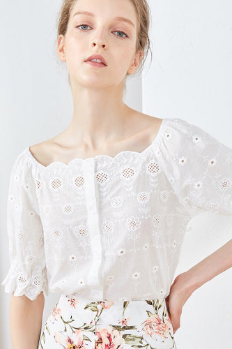 Parisien Embroidery Eyelet White Cotton Blouse