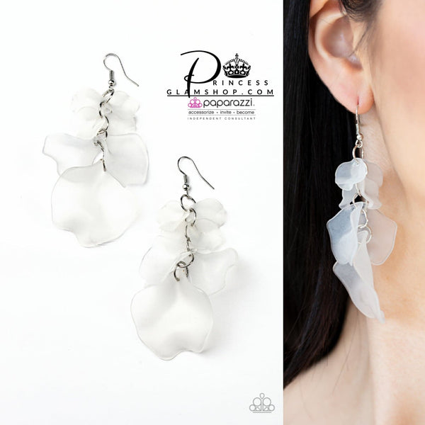 SOLD OUT Paparazzi Fragile Florals - White Life Of The Party Exclusive Earrings - Princess Glam Shop