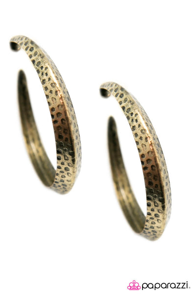 Paparazzi Jungle To Jungle -  Brass Hammered Hoop Earring - Princess Glam Shop