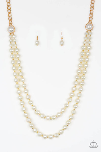 Paparazzi Endless Elegance - Gold with Pearly White Bead Necklace Set - PrincessGlamShop
