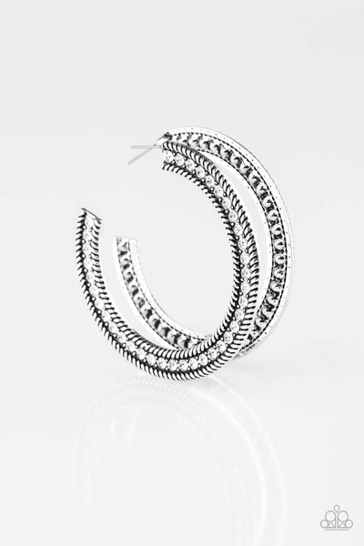 SOLD OUT Paparazzi HAUTE Mama - White Rhinestone/ Silver Hoop Earring - Princess Glam Shop