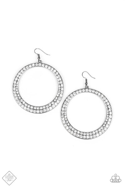 Paparazzi So Demanding Gunmetal Hoop Earrings-Princess Glam Shop