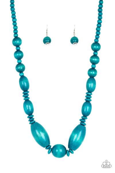 Paparazzi Summer Breezin' - Blue Wood Necklace Set - Princess Glam Shop