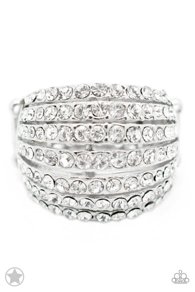 Paparazzi Blinding Brilliance - White Crystal Blockbuster Ring - Princess Glam Shop
