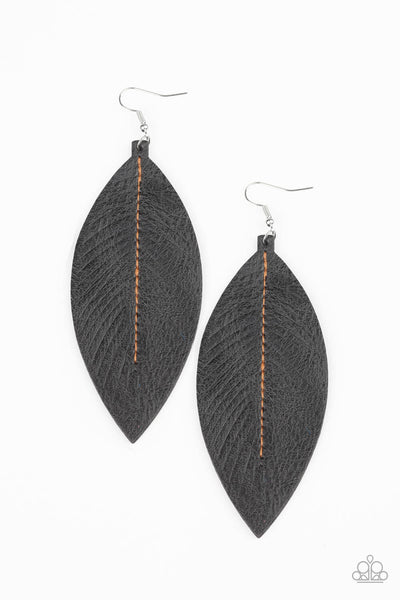 Paparazzi Naturally Beautiful - Black Leather Earrings - Princess Glam Shop