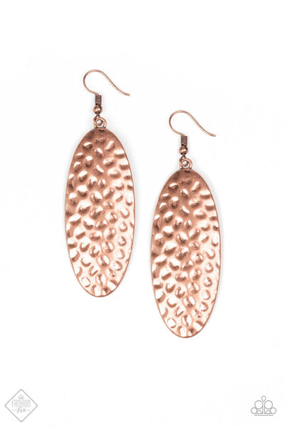 Paparazzi Radiantly Radiant - Copper Hammered Oval Earrings - Princess Glam Shop