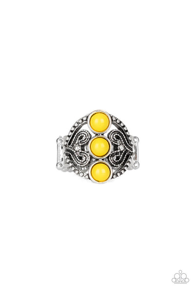 Paparazzi Triple Whammy - Yellow Ring - Princess Glam Shop
