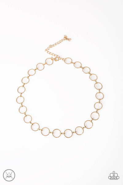 Paparazzi Metro Spunk - Gold Ring Dainty Choker Necklace Set - Princess Glam Shop