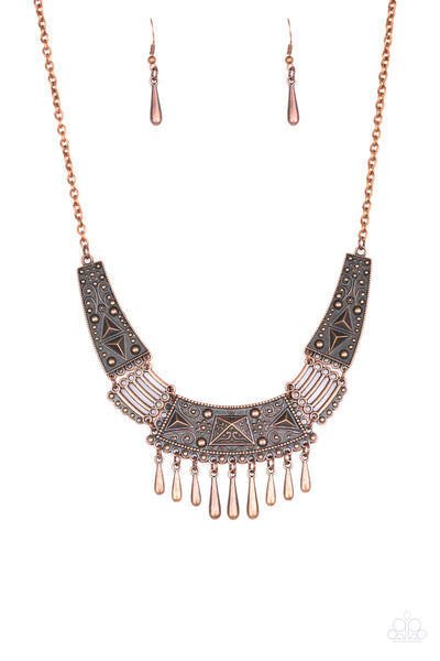 Paparazzi STEER It Up - Copper Tribal Necklace Set - Princess Glam Shop