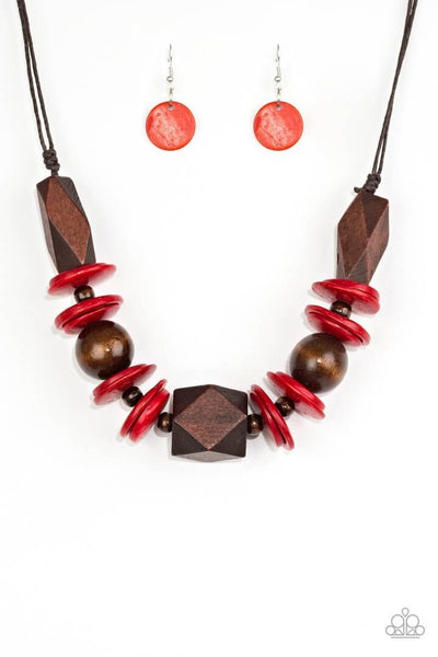 Paparazzi Pacific Paradise - Red Wooden Necklace Set - Princess Glam Shop
