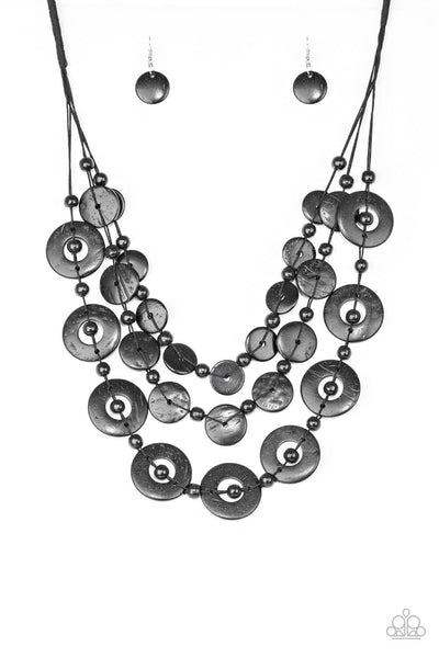 Paparazzi Catalina Coastin Black Wood Necklace Set - Princess Glam Shop