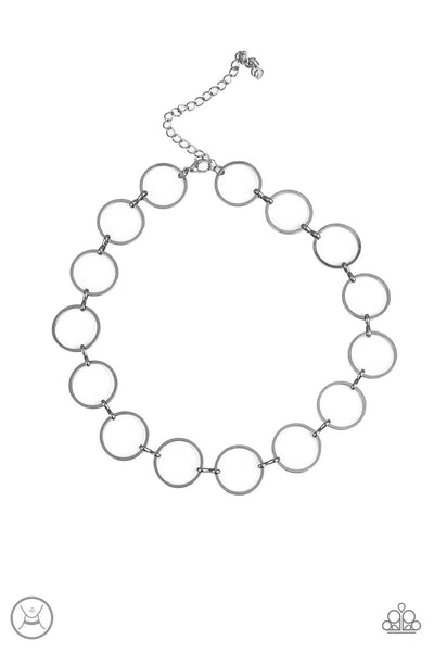 Paparazzi Retro Metro - Black Gun Metal Dainty Hoop Choker Necklace Set - Princess Glam Shop